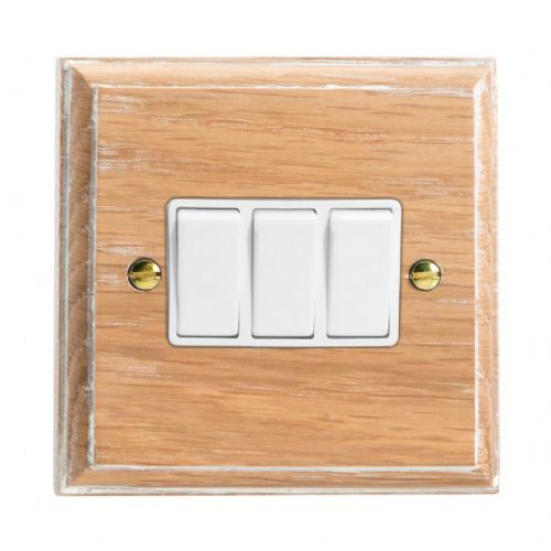 Varilight XK3LOW Kilnwood Limed Oak 3 Gang 10A 1 or 2 Way Rocker Light Switch